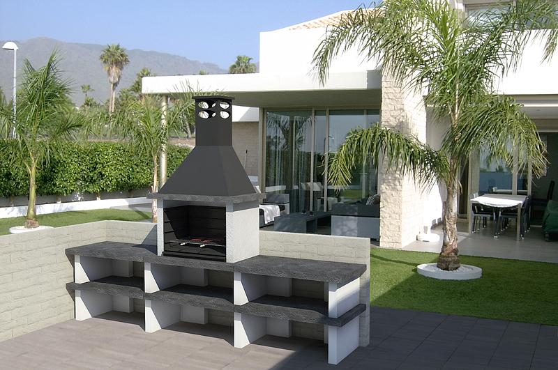 Barbacoa mixta ref 42003 barbacoas y piedra artificial - Paelleros de obra modernos ...