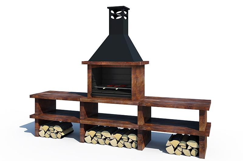 Barbacoa madera ref 46003 barbacoas y piedra artificial - Barbacoas con fregadero ...