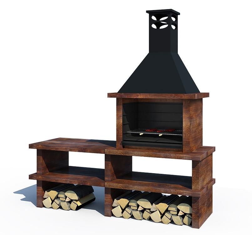 Barbacoa madera ref 46002 barbacoas y piedra artificial - Barbacoas de obra modernas ...