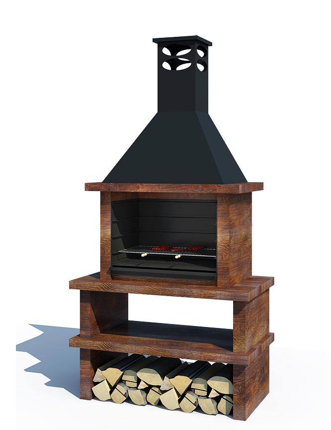 Barbacoa madera ref 46001 barbacoas y piedra artificial for Antorchas para jardin precio